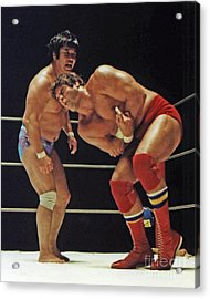 Dean Ho Vs Don Muraco In Old School Wrestling From The Cow Palace Acrylic Print by Jim Fitzpatrick