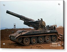 Death Dealer II  8 Inch Howitzer  At Lz Oasis Vietnam 1968 Acrylic Print by California Views Mr Pat Hathaway Archives