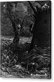 Death-fires Dancing Around The Becalmed Ship Acrylic Print by Gustave Dore