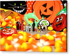 Death Takes His Kids Trick Or Treating Acrylic Print by Lon Casler Bixby