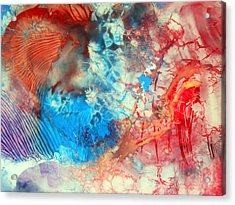 Acrylic Print featuring the painting Decalcomaniac Colorfield Abstraction Without Number by Otto Rapp