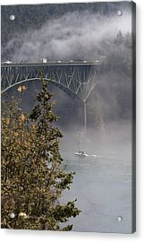 Deception Pass Bridge Fog Acrylic Print
