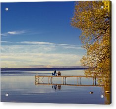 Deck Chairs On A Dock Acrylic Print