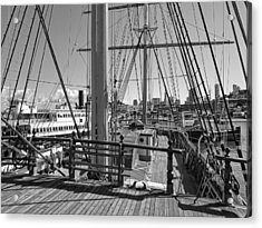 Deck Of Balclutha 3 Masted Schooner - San Francisco Acrylic Print by Daniel Hagerman