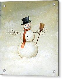Deck The Halls - Snowman Acrylic Print by David Carter Brown