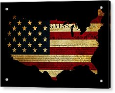 Declaration Of Independence Grunge America Map Flag Acrylic Print by Matthew Gibson