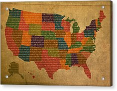 Declaration Of Independence Word Map Of The United States Of America Acrylic Print by Design Turnpike