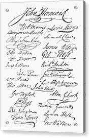 Declaration: Signatures Acrylic Print by Granger