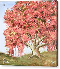 Deco Tree Acrylic Print by Vic  Mastis