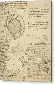 Decomposition Of Circle Into Bisangles From Atlantic Codex  Acrylic Print by Leonardo Da Vinci