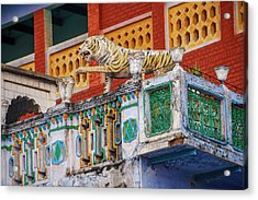 Decorated Balcony With A Tiger Statue Acrylic Print