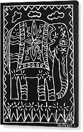 Decorated Elephant Acrylic Print by Caroline Street