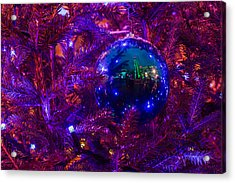 Decoration Ball On A Christmas Tree Illuminated With Red Light - Featured 3 Acrylic Print by Alexander Senin