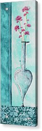 Decorative Floral Vase Painting Shabby Chic Style Relax And Unwind II By Madart Studios Acrylic Print by Megan Duncanson