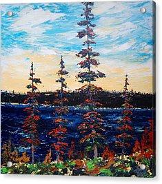 Decorative Pines Lakeside - Early Dusk Acrylic Print