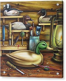 Decoy Carving Table Acrylic Print by JQ Licensing