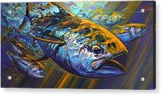 Deep Blue Blitz Acrylic Print by Savlen Art