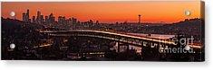 Deep Sunset Hues Of The Seattle Skyline Acrylic Print by Mike Reid