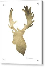 Deer Antlers Original Watercolor Art Print Acrylic Print by Joanna Szmerdt