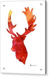 Deer Antlers Silhouette Art Print Watercolor Painting Acrylic Print