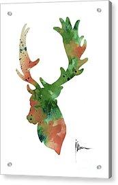 Deer Antlers Silhouette Watercolor Art Print Painting Acrylic Print by Joanna Szmerdt