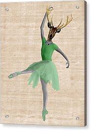 Deer Ballet Dancer Green Acrylic Print by Kelly McLaughlan