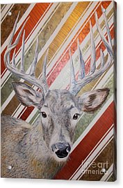 Deer Deco Acrylic Print by PainterArtist FINs husband