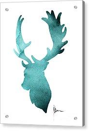 Deer Head Silhouette Painting Watercolor Art Print Acrylic Print