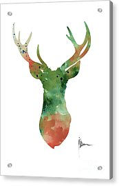 Deer Head Watercolor Large Poster Acrylic Print