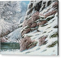 Deer In A Snowy Landscape Acrylic Print by Gustave Courbet