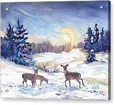 Deer In Winter Landscape  Acrylic Print by Peggy Wilson