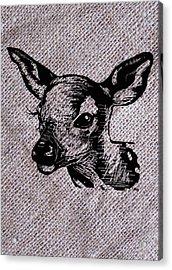 Deer On Burlap Acrylic Print