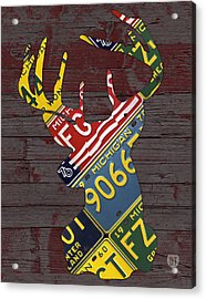 Deer With Antlers Michigan Recycled License Plate Art Acrylic Print