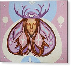 Deer Woman Acrylic Print by Carolyn Cable