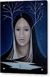 Acrylic Print featuring the painting Deer Woman  by Tone Aanderaa