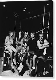 Def Leppard - Adrenalize Tour B&w 1992 Acrylic Print by Epic Rights