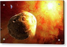 Deflecting A Near-earth Asteroid Acrylic Print by Mark Garlick