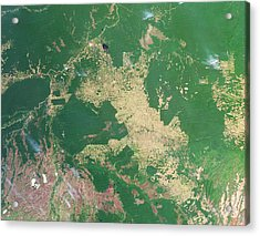 Deforestation In The Amazon Acrylic Print by Nasa Earth Observatoryscience Photo Library