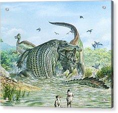 Deinosuchus Reptile Attacking A Dinosaur Acrylic Print