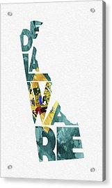 Delaware Typographic Map Flag Acrylic Print