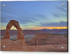 Acrylic Print featuring the photograph Delicate Arch At Sunset by Alan Vance Ley