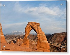 Acrylic Print featuring the photograph Delicate Arch At Sunset by Jeff Goulden