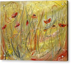 Acrylic Print featuring the painting Delicate Poppies by Dorothy Maier
