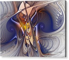 Delicate Spiral Duo In Blue Acrylic Print