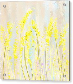 Delicately Soft- Yellow And Cream Art Acrylic Print by Lourry Legarde