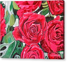 Acrylic Print featuring the painting Delight Of Grandma's Roses Painting by Kimberlee Baxter