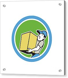 Delivery Worker Carrying Package Cartoon Acrylic Print by Aloysius Patrimonio