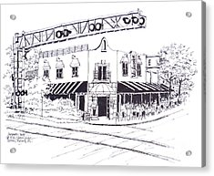 Delray Beach Restaurant. Vic Angelos On Atlantic Ave. At Railroad Crossing. Florida. Acrylic Print