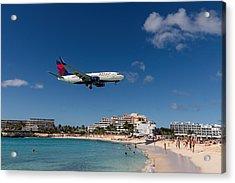 Delta 737 St. Maarten Landing Acrylic Print by David Gleeson