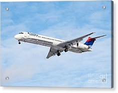 Delta Air Lines Mcdonnell Douglas Md-88 Airplane Landing Acrylic Print by Paul Velgos